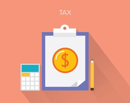 income tax: Tax concept flat illustration Illustration