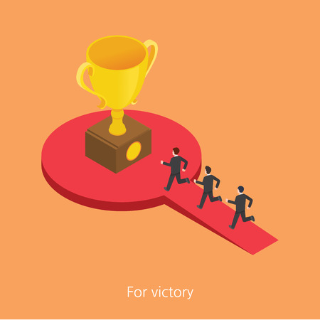rewarded: For victory concept design 3d isometric illustration