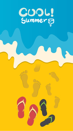 footprints in sand: Summer holidays  illustration,flat design going to beach and sandals concept