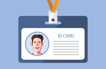 neckband: Flat characters of id card concept illustrations