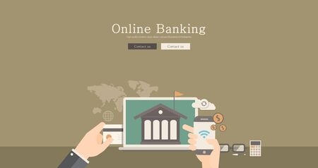banking concept: Modern and classic design for online banking concept illustration