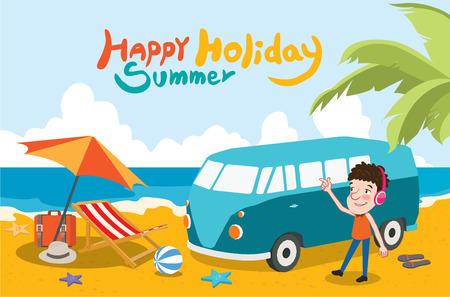 sand beach: Summer holidays  illustration,flat design listening to music sand beach concept Illustration