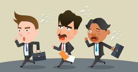 lateness: Business corporation lateness concept flat character Illustration