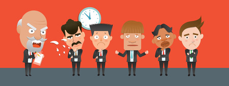 flat character: Business corporation Scolding concept flat character