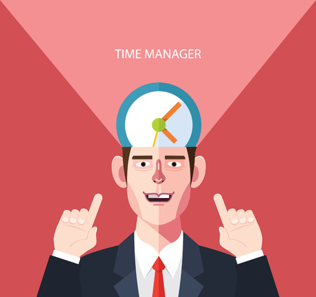 flat character: Flat character of time manager concept illustrations Illustration