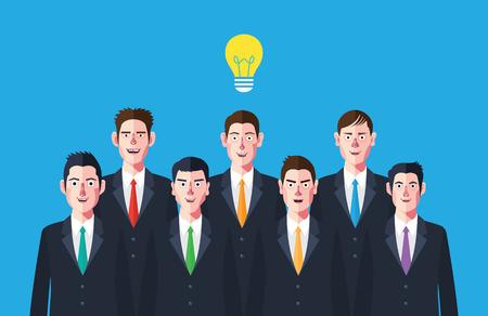 Personajes planos de lluvia de ideas Concepto ilustraciones