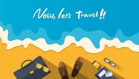 businessman shoes: Summer holidays illustration,flat design beach and business object concept
