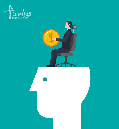 Minimal flat character of business funding concept illustrations Illustration