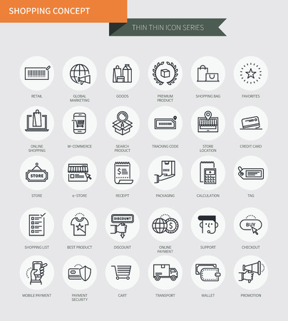 Thin thin line icons set of shopping, modern simple style Çizim