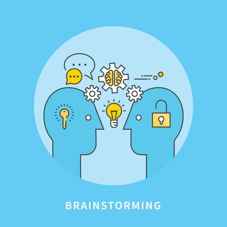 Simple line flat design of brainstorming, modern vector illustration Illustration