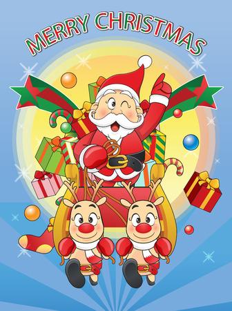 메리 크리스마스 산타, 눈사람, 순록 만화.