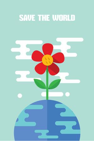 Diseño moderno de carácter plano salvar el mundo ilustración vectorial Foto de archivo - 81929774