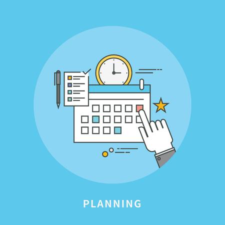 Circle color line flat design of business planning, modern vector illustration
