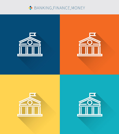 savings account: Thin thin line icons set of banking & finance and money, modern simple style