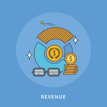 Circle color line flat design of revenue, modern vector illustration Illustration