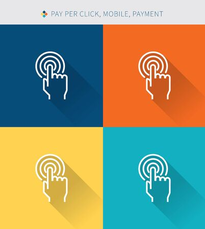 hand touch: Thin thin line icons set of mobile & pay per cilck and payment, modern simple style