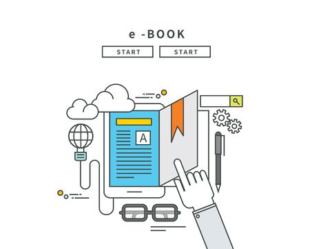 Simple line flat design of e-book, modern vector illustration Çizim