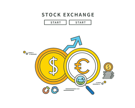 Simple line flat design of stock exchange, modern vector illustration Illustration