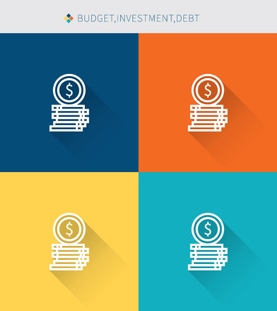 crowdsource: Thin thin line icons set of budget & investment and debt, modern simple style