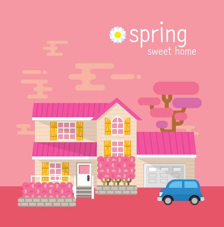 suburban neighborhood: Sweet home vector illustration graphics