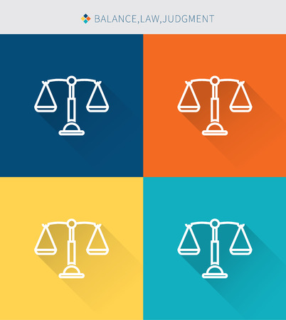 Dunne dunne lijn iconen set van evenwicht & wet en oordeel, moderne eenvoudige stijl Stock Illustratie