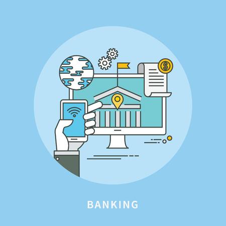 Circle color line flat design of internet banking, modern vector illustration