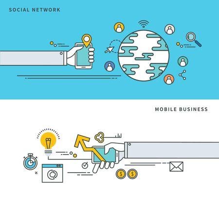 Simple line flat design of social network & mobile business, modern vector illustration. Illustration