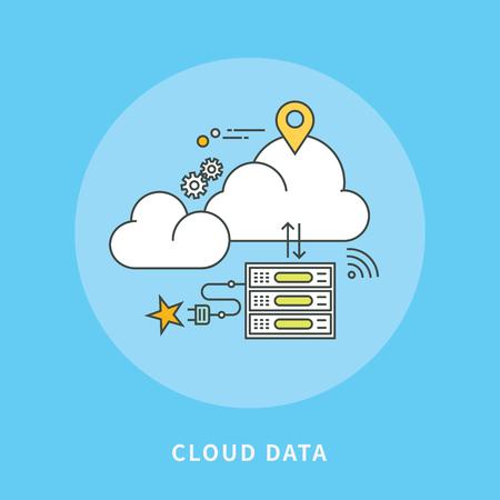 Circle line flat design of cloud data, modern vector illustration