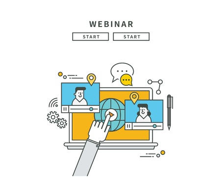 Simple line flat design of webinar, modern vector illustration