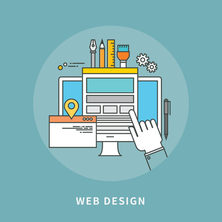 Circle color line flat design web design, modern vector illustration