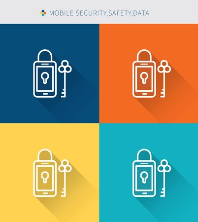 function key: Thin thin line icons set of mobile security & data, modern simple style Illustration