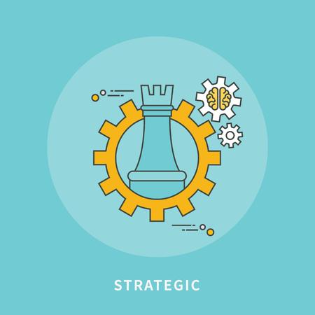 Circle color line flat design of strategic business, modern vector illustration Illustration