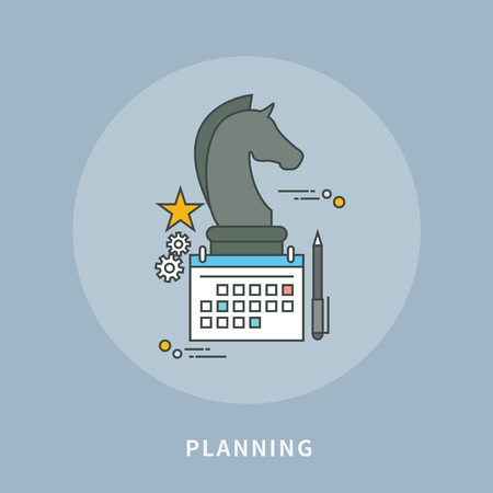 Circle color line flat design of strategic planning, modern vector illustration