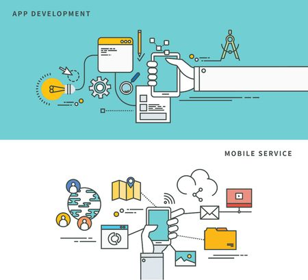 Simple line flat design of app development & mobile service, modern vector illustration.