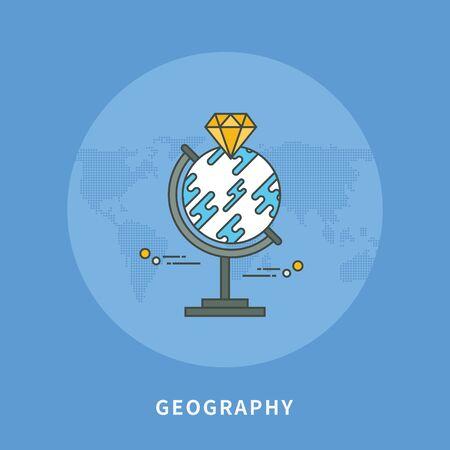 Circle color line flat design of geography, modern vector illustration Illustration
