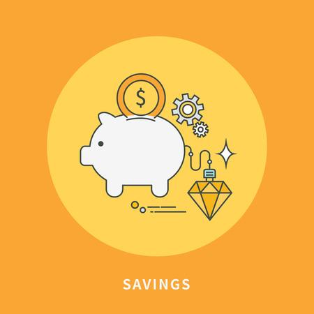 Circle color line flat design of savings, modern vector illustration