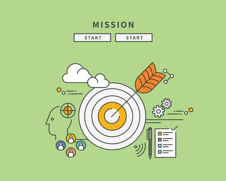 Simple color line flat design of mission, modern vector illustration