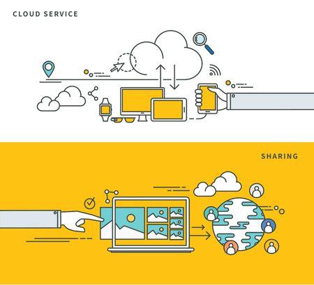 documentation: Simple line flat design of cloud data & data storage solutions, modern vector illustration.