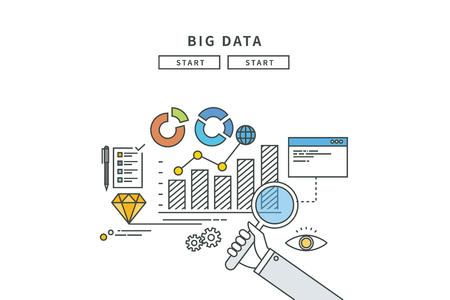 Simple line flat design of big data, modern vector illustration