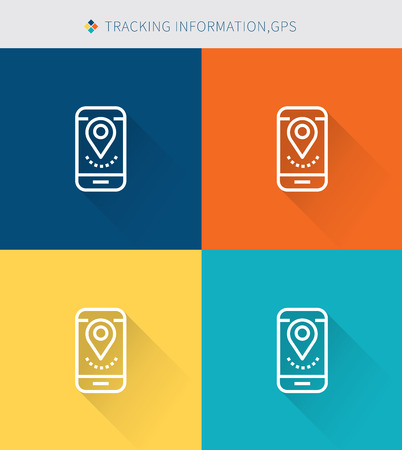 gps device: Thin thin line icons set of traking information & gps, modern simple style Illustration