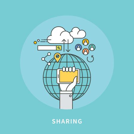 Circle color line flat design of smart sharing, modern vector illustration