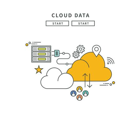Simple line flat design of cloud data, modern vector illustration