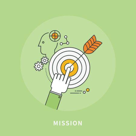 Circle color line flat design of mission, modern vector illustration
