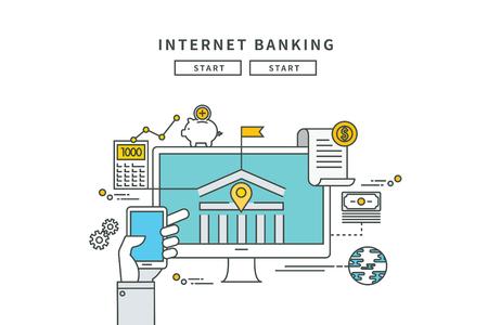 Simple line flat design of internet banking, modern vector illustration Ilustrace
