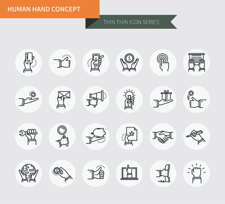 Thin thin line icons set of human hand concept, modern simple style