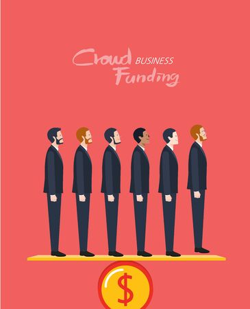 Minimal flat character of business crowd funding concept illustrations
