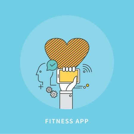 Simple color line flat design of fitness app, modern vector illustration