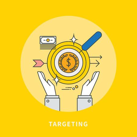 Circle color line flat design of business target, modern vector illustration Illustration
