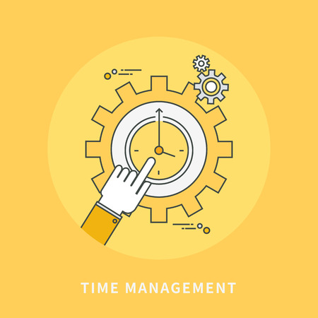 cogwheel: Circle color line flat design of time management, modern vector illustration