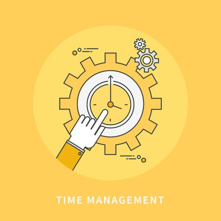 Circle color line flat design of time management, modern vector illustration